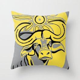 Bovine Sun Throw Pillow