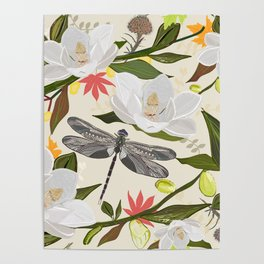 Magnolia Tree, Flowers and Dragonfly Soft Nature Colored Pattern Poster