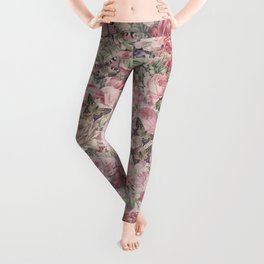 Romantic Flower Pattern And Birdcage Leggings