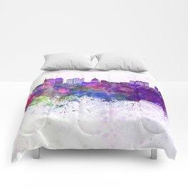Boise skyline in watercolor background Comforters