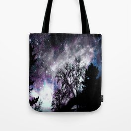 Black Trees Purple Gray Blue Space Tote Bag