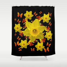 Decorative Black Design Butterflies Yellow Daffodils Shower Curtain