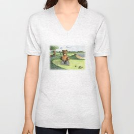 Golfer Bear Unisex V-Neck