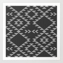 Southwestern textured navajo pattern in black & white by danadudesign