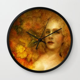 """Ophelia among golden oriental flowers"" Wall Clock"