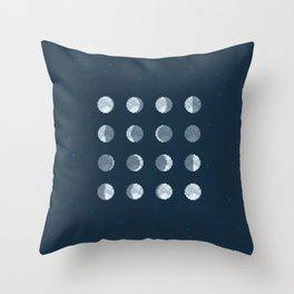 8bit Moon Phases Throw Pillow