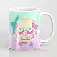 attack on titan Mugs featuring Pastel no Kyoujin Colossal Titan by KawaiiMachine