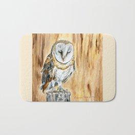 Sleeping Willow-Young Barn Owl by Teresa Thompson Bath Mat