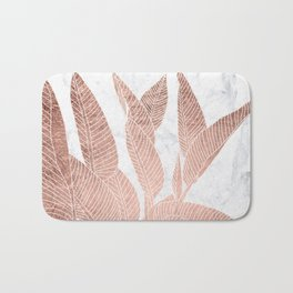 Modern faux Rose gold leaf tropical white marble illustration Bath Mat