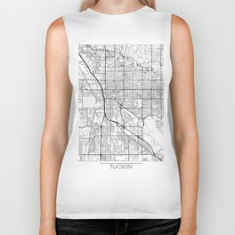 Tucson Map White Biker Tank