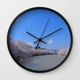 river, trees, turning, sky Wall Clock