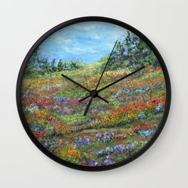 Where The Poppies Grow, Impressionism Painting Wall Clock