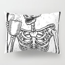 Skeleton Drinking a Cup of Coffee Pillow Sham