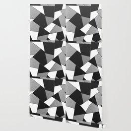 Silver Gray Black White Geometric Glam #1 #geo #decor #art #society6 Wallpaper