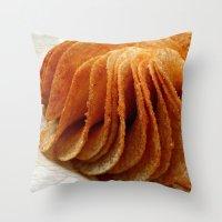 potato Throw Pillows featuring Potato Chips by Guna Andersone & Mario Raats - G&M Studi