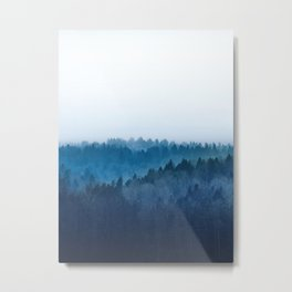 Foggy Blue Pine Forest Metal Print