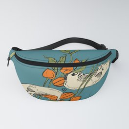 two skulls with physalis branch Fanny Pack