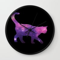 space cat Wall Clocks featuring SPACE CAT by Caio Trindade
