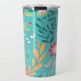 Teal Garden Hearts Travel Mug