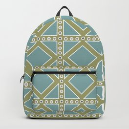 Teal and Moss Green Pattern Backpack