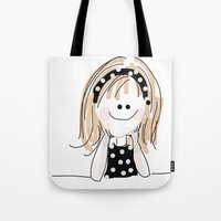girly Tote Bags featuring girly by Indraart