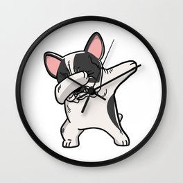 Funny Pied French Bulldog Dabbing Wall Clock