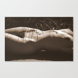 Nude Sunbathing Sepia Canvas Print