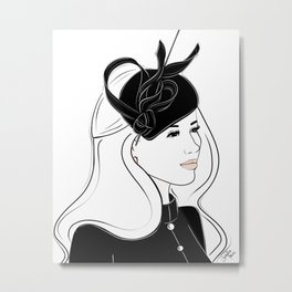 Meghan Markle Inspired Fascinator Portrait Metal Print