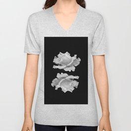 White Rose On Black Unisex V-Neck