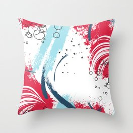 Red blue paint Throw Pillow