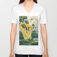 mermaid V-neck T-shirts featuring MERMAID by Julia Lillard Art