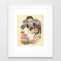 liam payne Framed Art Prints featuring Liam Payne + Flowers by Ladsandstuff