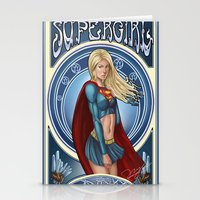 supergirl Stationery Cards featuring Supergirl  by Ryan Chan