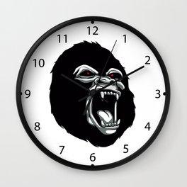 Angry gorilla head. Wall Clock