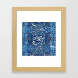 Silver Egyptian Eye of Horus  on blue marble Framed Art Print