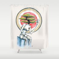 health Shower Curtains featuring Health by M. Adeline Nef