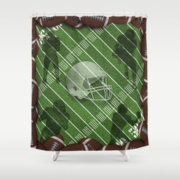 Football Helmet and Players over a Field Shower Curtain