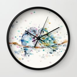 Mr & Mrs Snugglepots [pacific parrotlets] Wall Clock