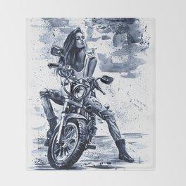 Biker Girl Throw Blanket