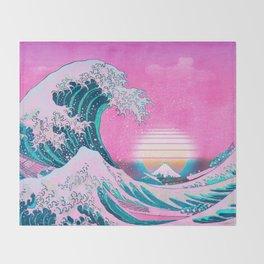 Vaporwave Aesthetic Great Wave Off Kanagawa Sunset Throw Blanket