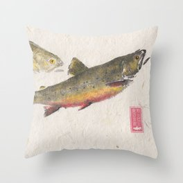Pair of Brook Trout- Gyotaku Throw Pillow