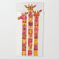 Giraffes – Fiery Palette Beach Towel