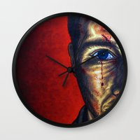 "dramatical murder Wall Clocks featuring ""Murder"" by PMS Artwork"