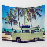 vw bus Wall Tapestries featuring VW Bus Beach Vacation by Limitless Design