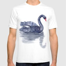 Black Swan MEDIUM White Mens Fitted Tee