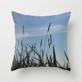 Green reeds large leaves Throw Pillow