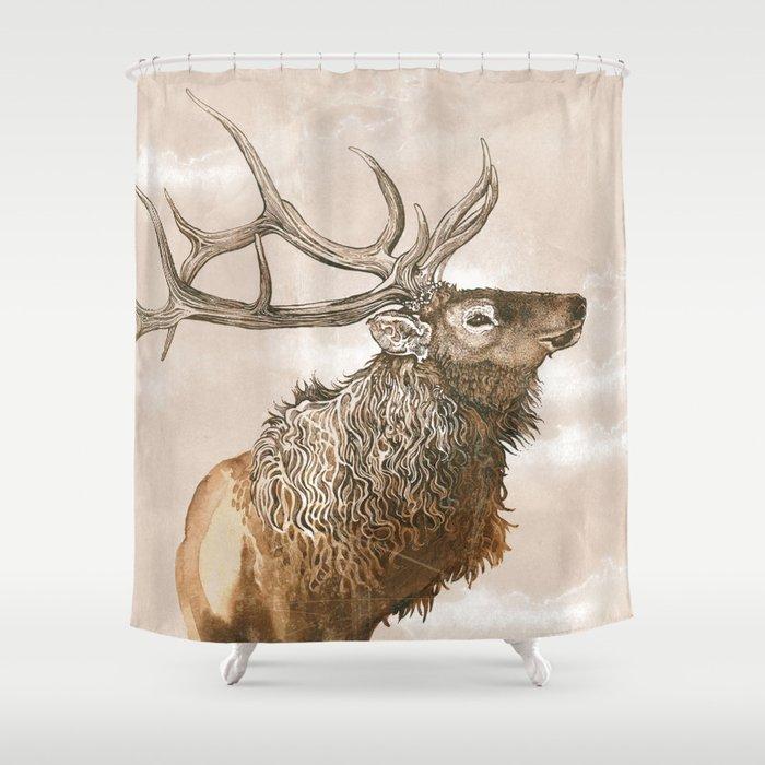 Misty Morning Elk Shower Curtain