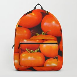 Delicious red tomatoes. Vintage aerial view of tomatoes. Summer tray market agriculture farm full of organic vegetables. Retro style Backpack