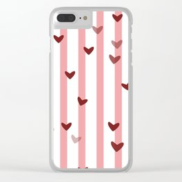 Love concept of hearts on striped background Clear iPhone Case