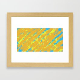 orange yellow and blue painting abstract background Framed Art Print